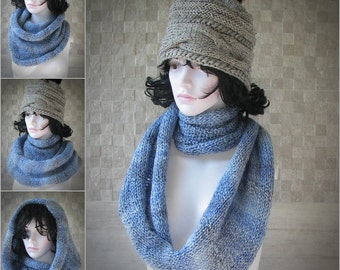 Woman's infinity knit scarf. Wool scarf. Circle Blue scarf  Soft knit scarf  Knit infinity scarf Wool knit scarf