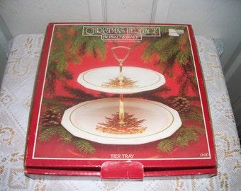 Pfaltzgraff Christmas Heritage ALL Original - 2 - Tier Tidbit Tray - Original Box - Barely Used