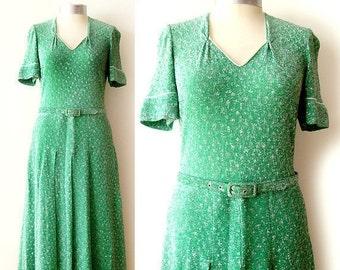 SALE Vintage lurex green maxi dress , metallic maxi dress, size medium, Made in Italy dress , 70s dress boho