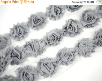 "July Sale 12% OFF 1.5"" PETITE  Shabby Rose Trim -  Grey Color - Chiffon Trim -  Shabby Trim - Hair Accessories and Craft Supplies"
