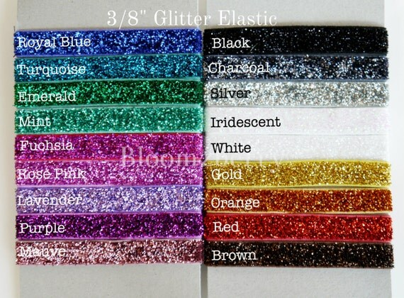 """3/8"""" Glitter Elastic  - Assorted Color - You Choose Color - 25 Color Available - Glitter Elastic - Hair Accessories Supplies"""