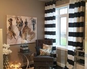 Black White Cabana Wide Horizontal Stripe Curtains - Grommet - 84 96 108 or 120 Long by 24 or 50 Wide - Optional Blackout or Cotton Lining