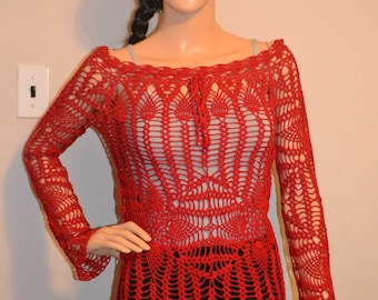 Beautiful Rich Red Hand Made Crochet Shirt Size 0 to 20