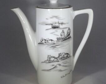Robert Mayokok Teapot With Alaskan Sled Dog Design