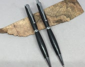 Ancient Bog Oak Slim Pen & Pencil Set with Chrome Hardware - handmade and gorgeous, with gift box