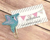 Blue/Pink/Humming Bird/Sparkle Applique Paper Clip/Journal Marker/Bookmark/Planner Clip