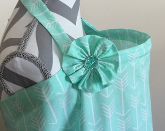 Arrows Nursing Cover - Mint and white arrows print nursing cover with a fabric flower clippie- Ready to ship