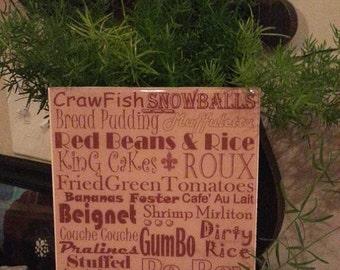 NEW ORLEANS Food, crawfish, cooking, Subway Print, Kitchen Decor, Southern Food, gift, Louisiana, cajun, home decor, kitchen decoration