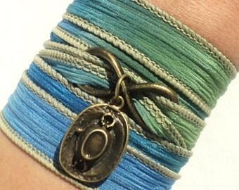 Cowboy Hat Bracelet - Southwestern Jewelry - Boho Gifts - Teen Gift Idea - Rustic Jewelry - Wrap Bracelet - Silk Anniversary - Roan Jewelry