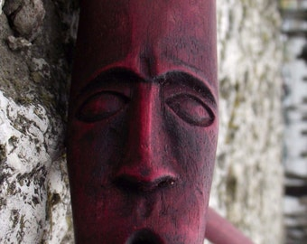 Handmade Unique Smoking Pipe with Tribal Face painted in Burgundy