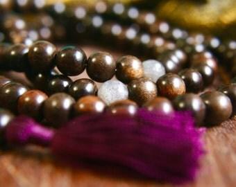 Wood and Labradorite Gemstone Mala Prayer Beads 108 Mala Beads Japa Mala Meditation Jewelry Silk Tassel Necklace Unknotted Wooden Mala