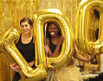 Bachelorette Party - I DO Gold Mylar Letters Balloon Kit, bachelorette banner, bridal shower banner, bachelorette decoration