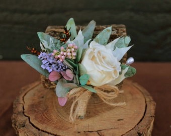 Pink, Sage, Blue and Lilac Wedding Boutonniere, Preserved Hydrangea & Rose Grooms Boutonniere, Dried Flower Boutonniere, Grooms Boutonniere