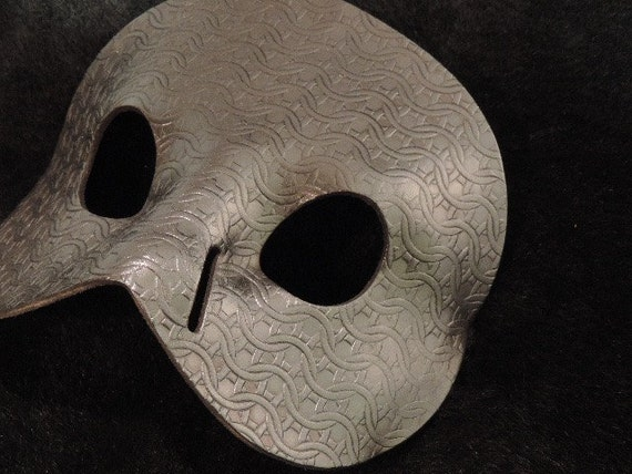 Hand Molded Embossed Black Leather Chain Mail Skull  Mask
