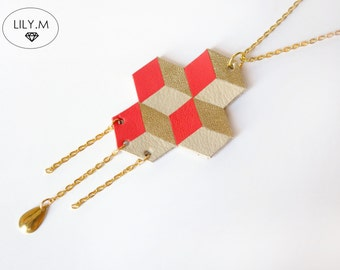 Necklace Geometric Leather, Poppy and golden TARA