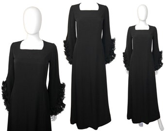 PIERRE BALMAIN 1960s Vintage Evening Gown Maxi Gown Black Dramatic Bell Sleeves US Size 6 Small