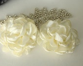 Ivory/Cream Fabric Flower / Hair Flower / Satin Fabric Flower NO PIN / Satin Flower  FLW-12