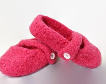 Girls pink felted wool Mary Jane slippers
