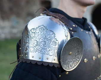 """DISCOUNTED PRICE! Etched Pauldrons """"Knight of Fortune""""; Medieval Pauldrons; Arm Armor; Pauldrons"""