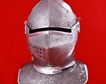 20% DISCOUNT! Medieval Mens SCA Helm; Combat Helmet with Etched Patterns; Armor; Steel Helmet