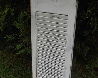 Old Shutter- Vintage Shutter - Shutter Message Holder - 35.5 x 12 Shutter - White Shutter-Old Painted Wood Shutter-Distressed Shutter