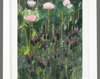 French Lavender and Poppies Watercolour Painting Prints A3