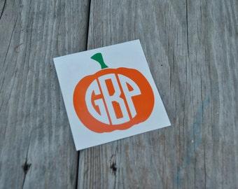 Monogrammed Pumpkin Decal - Pumpkin Monogram Decal - Halloween Monogram Decal - Fall Monogram Decal - Monogrammed Pumpkin Sticker