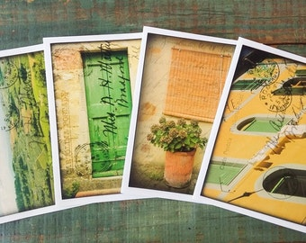 "Italy Notecards, Set of 4 cards, CLEARANCE, Italian cards, Italian postcard notecards, Photography cards, 4.25x5.5"" eco-friendly, Set E"