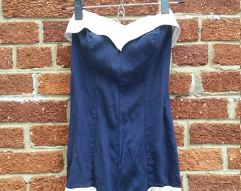 SPRING CLEANING SALE Nautical Navy 1950s Bombshell Swimsuit Open Tied Back Boned Bust Pinup Photo Shoot