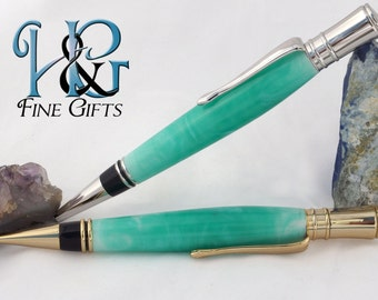 Pen and Pencil Set in swirling green and two-tone setting, acrylic pencil and pen set, office gift set, writing set, letter writing set