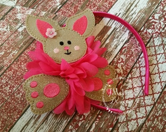 Oversized Glitter light Brown Bunny Headband Slider - Easter Bunny slider