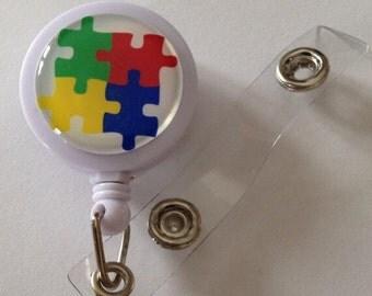Autism Awareness Themed ID Badge Reel