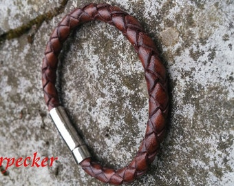 Leather Braided Bracelet, Chunky Leather, Boyfriends Gift, Fathers Day Gift