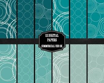 Digital Scrapbooking Paper Pack, Emerald Green Digital Paper, Circles and Dots Scrapbook Paper, Subtle Patterned JPEG Paper