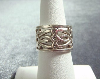 Sterling Silver Scroll Design Band Ring Sz 6 R223