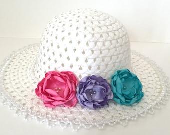 FLOWERGIRL HAT, Aqua, lavender and bubblegum pink handmade satin flowers.