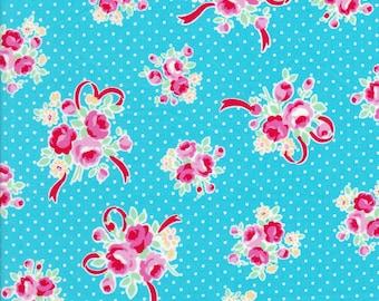 Rose Fabric - Flower Sugar Fabric - Lecien Fabric - Aqua Fabric - Bow Fabric - Polka Dot Fabric