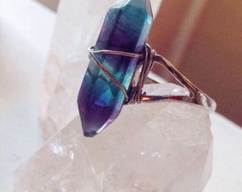 Crystal Fluorite Wire Wrapped Ring