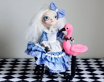 OOAK Alice in Wonderland /Tim Burton Inspired-Art Doll- Pink Flamingo accessory