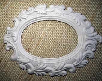 Large White Dresden Embossed Oval Frame