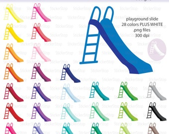 Playground Slide or Park Slide Icon Digital Clipart in Rainbow Colors - Instant download PNG files - PLUS white icon