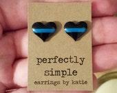 THIN BLUE LINE heart stud earrings