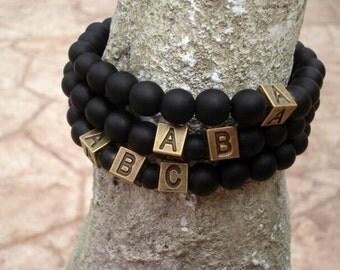 Initial Bracelet, Black Onyx Bracelet, Initial Jewelry, Custom Bracelet, Bracelets for Men, Women's Bracelet, Letter Personalized Bracelet