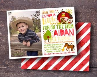 Farm Invitation, Barn Invitation, Barn Animal Invitation, Farm Birthday Invitation, Farm Birthday, Cow Invitation, Horse Invitation, Farm
