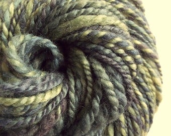 Green handspun, hand dyed, bulky blue faced leicester yarn knitting yarn / wool, Sage greens