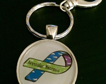 AVN keychain - Avascular Necrosis Awareness - osteonecrosis awareness - Get Well Soon