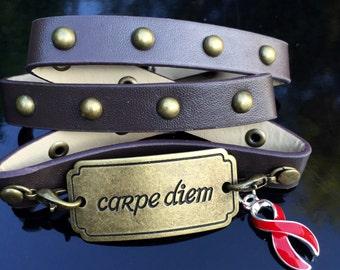 Leather Wrap Awareness / Carpe Diem - Red Ribbon Charm - HIV AIDS awareness / Heart Attack Disease Jewelry / Zipper Club / CHF