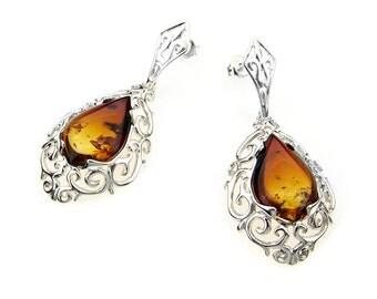 Burning Cognac Baltic Amber Earrings
