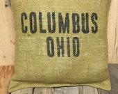 Columbus, Ohio Burlap pillow