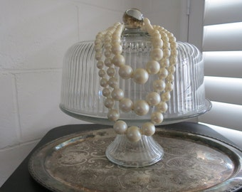 Vintage Graduated 3-Strand Faux Pearls-1970's